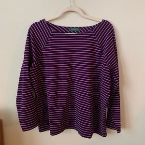Ralph Lauren Pink and Black Striped Boat Neck Top